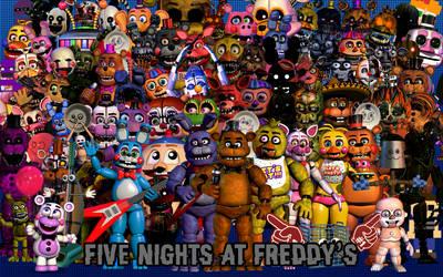 All FNaF Characters in one Image (Final Update) by EnderLuigiMario
