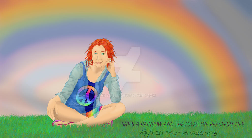 She's a rainbow and she loves the peacefull life  by Anyriell