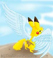 The winged Pikachu by TheGreenPikachu