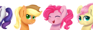 Ponytail compilation: Mane six by Chiweee