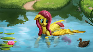Fluttershy's lily pond by Camyllea