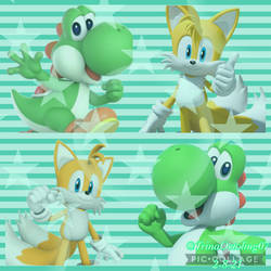 Tails and Yoshi (Collage trade)