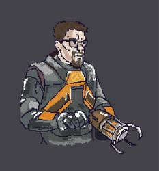 Gordon Freeman pixel art by MakowiecArt