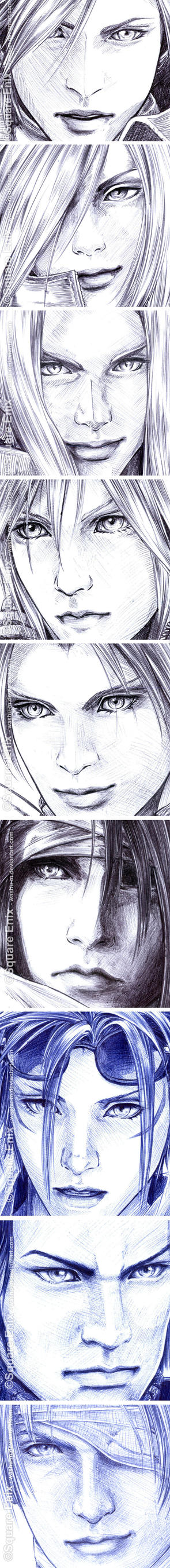 FFVII - Faces Details in Pen by Washu-M