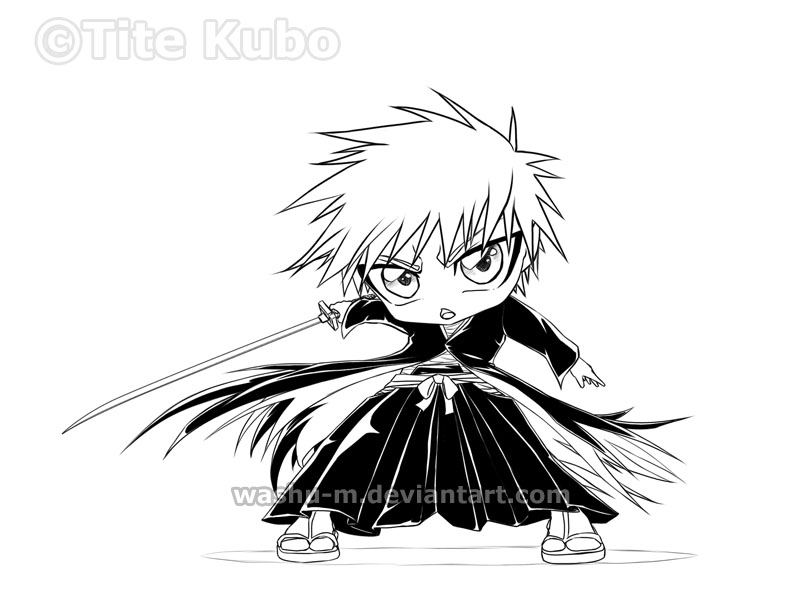 BLEACH - Chibi ICHIGO BW by Washu-M