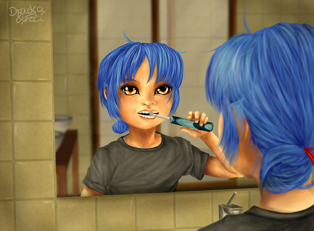 Morning Hours - Sachi brushing her teeth by Dradra-Trici