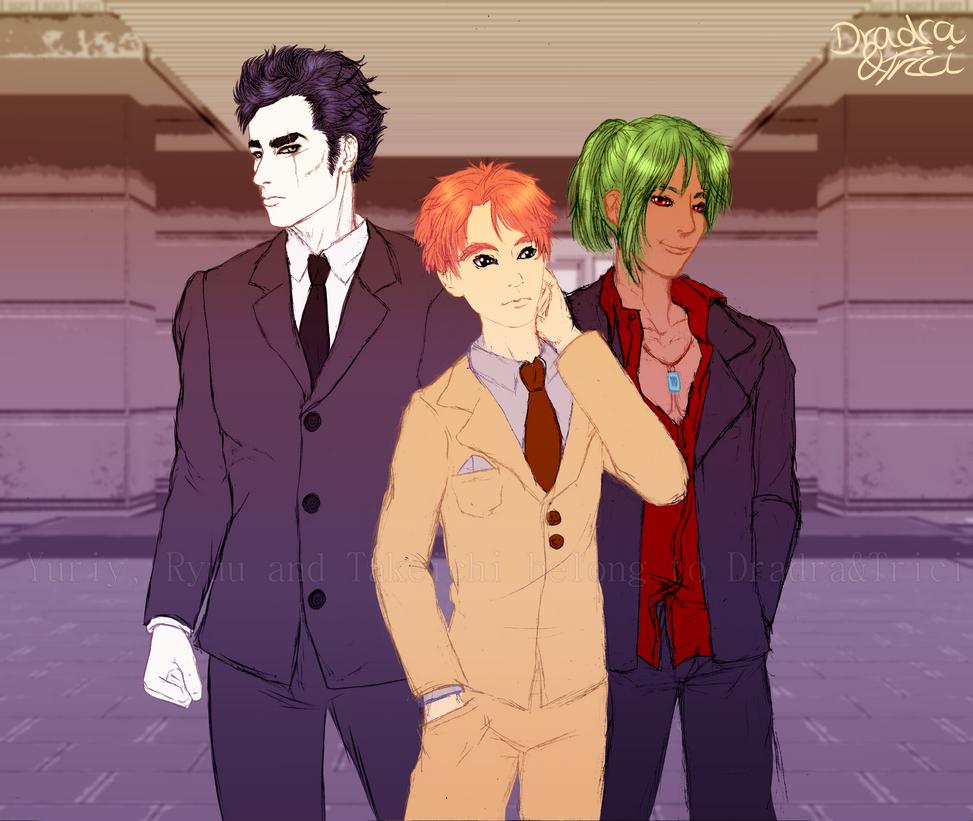 Sketch: Yuriy, Ryuu, Takeichi - Suits by Dradra-Trici