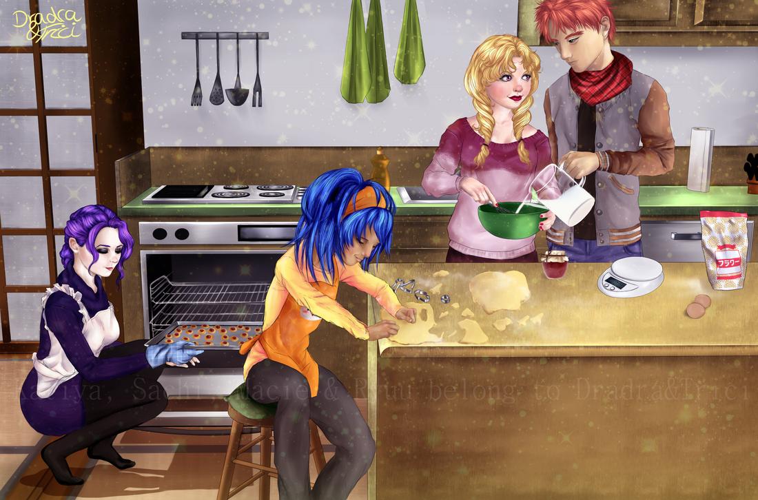 Christmas Baking - Katiya, Sachi, Macie, Ryuu by Dradra-Trici