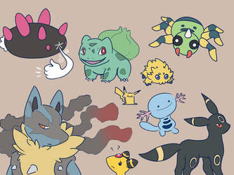Drew some of my favorite pokemon because why not by Akkathos