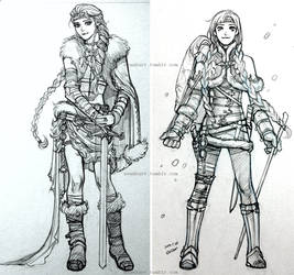 Elsa and Anna, viking character sketch by evankart