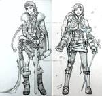 Elsa and Anna, viking character sketch