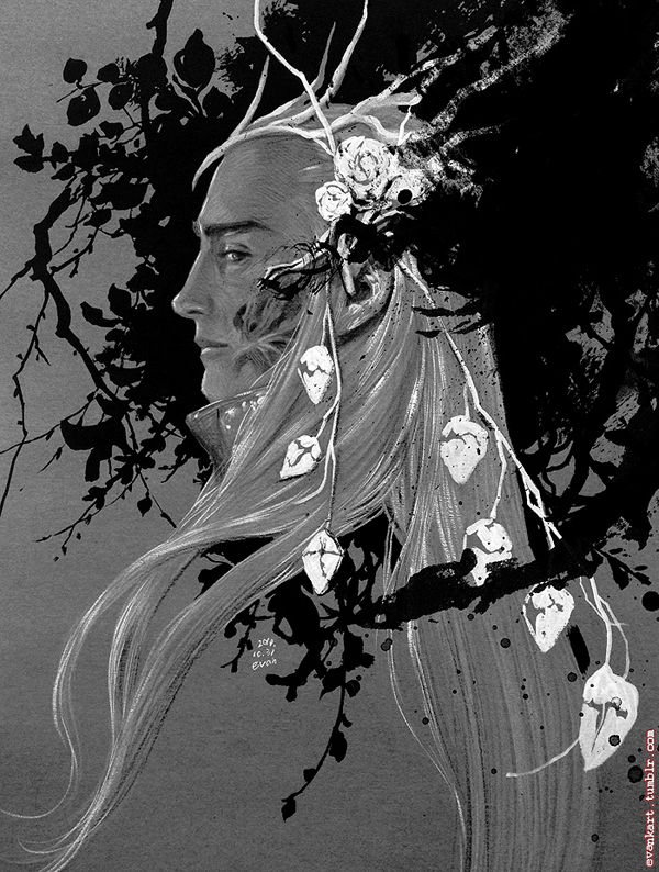 Thranduil drawing for Halloween by evankart