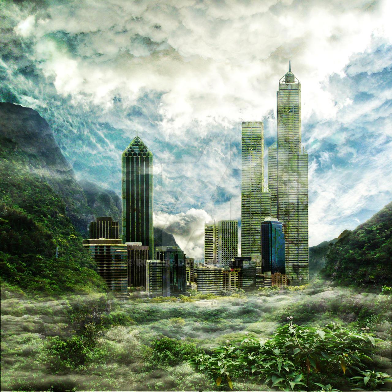Matte-painting : Jungle city by rodleg