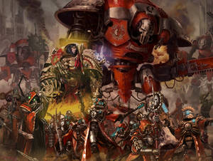 Emperor on top of his Mechanicus army WH 40k