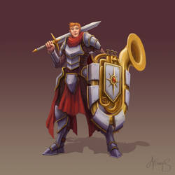 Human Paladin Bard with a Tuba Shield by nowis-337
