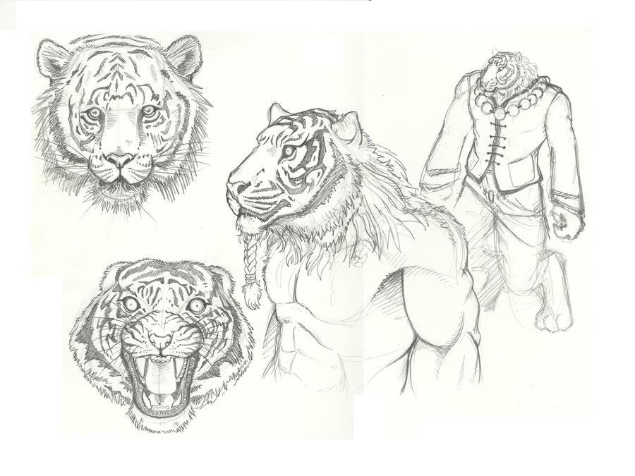 Tiger-man Concept Sketch by GabrieleDerosasArt