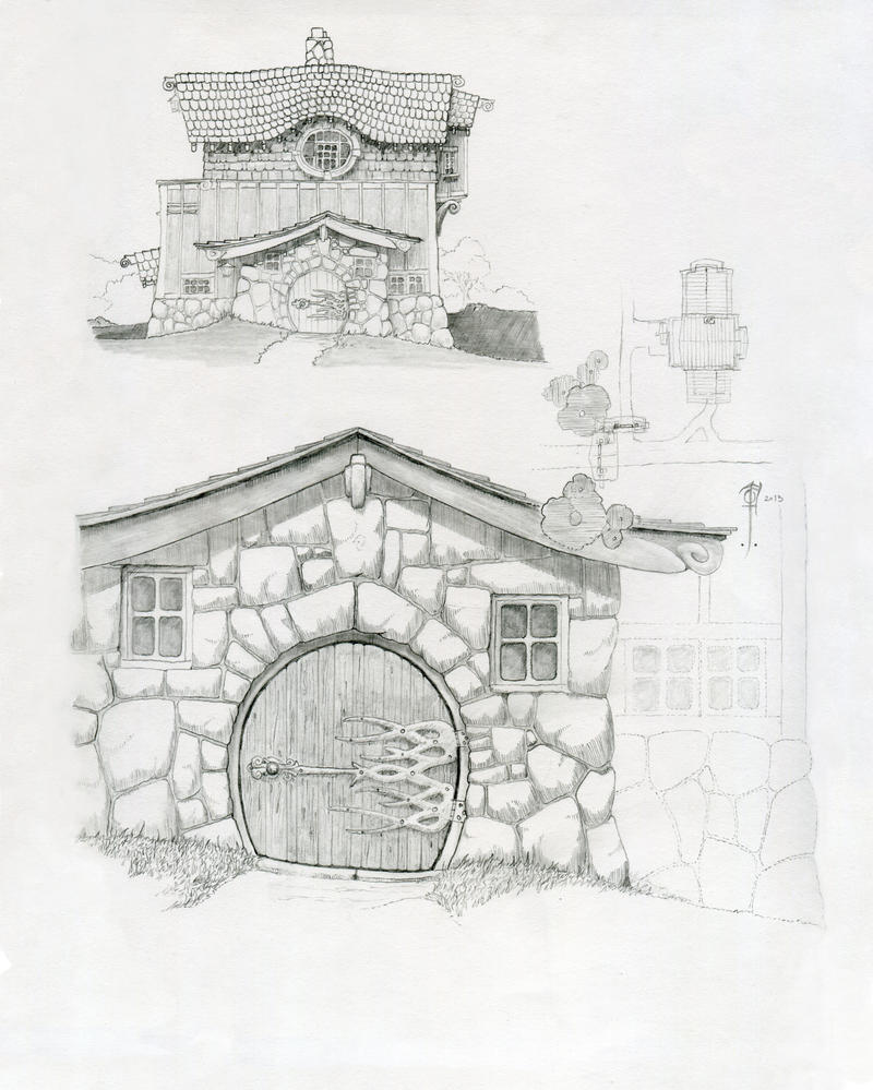 Warden house by sirinkman on deviantart for Hobbit house drawings