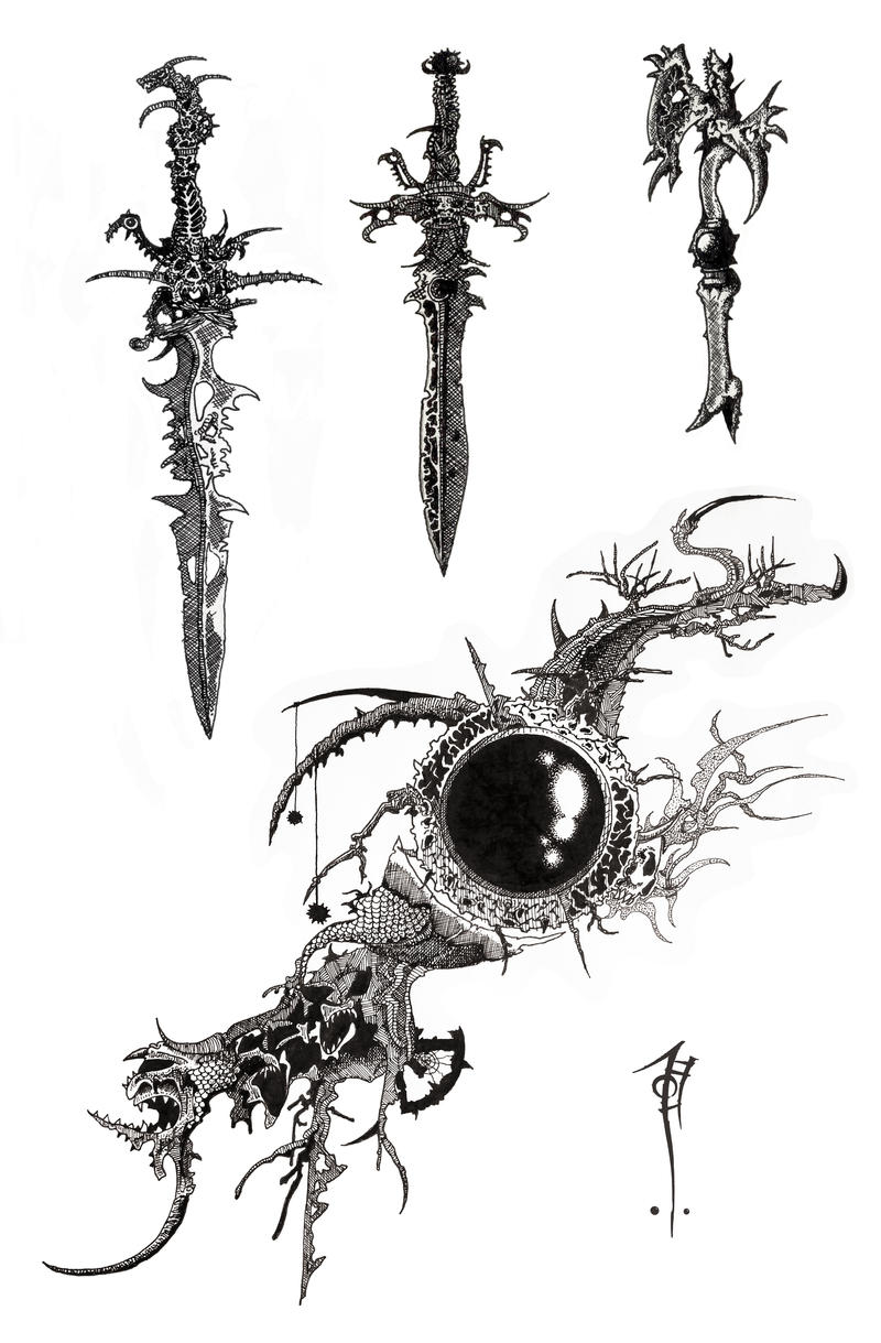 Styles of Chaos weapons 01 by SirInkman