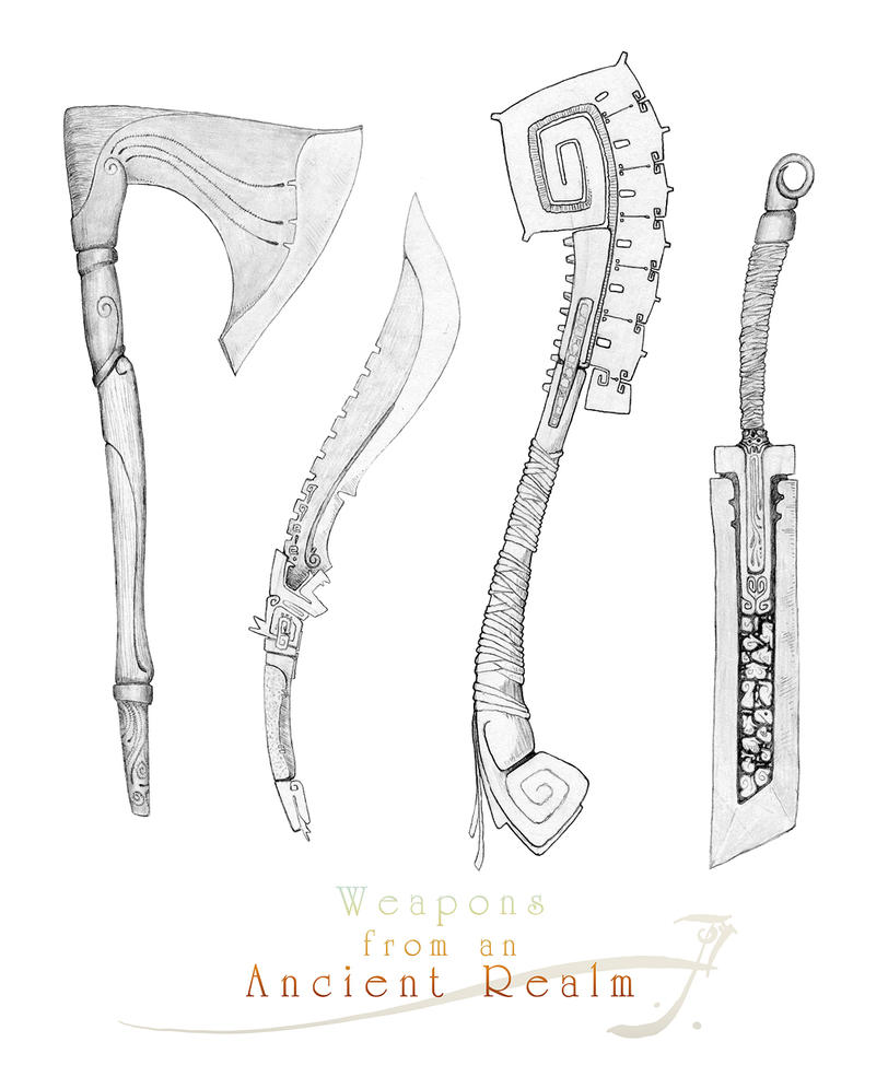 Weapons Fron An Ancient Realm Pencil By Sirinkman On