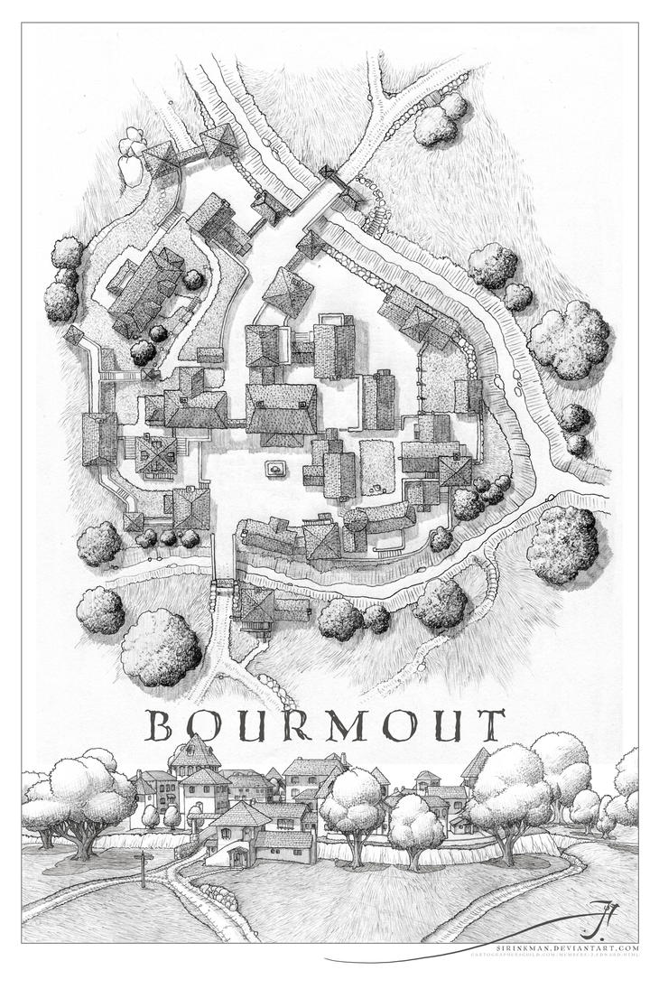 Bourmout [uncolored] with perspective by SirInkman