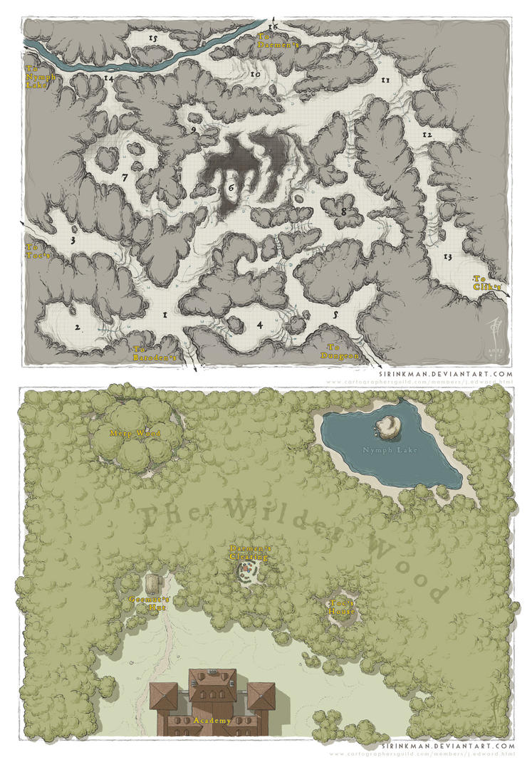 Cavern and Forest Map by SirInkman