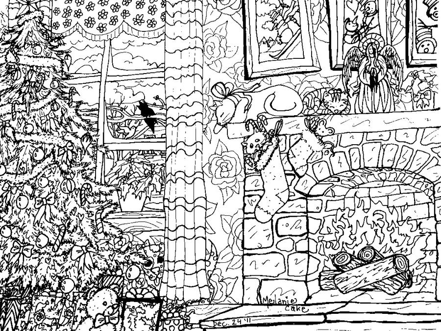 christmas coloring page by melanie76 - Detailed Christmas Coloring Pages