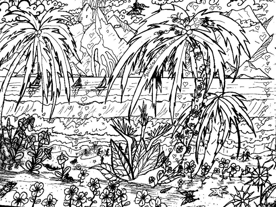 Tropical beach coloring page by melanie76 on deviantart for Tropical coloring pages
