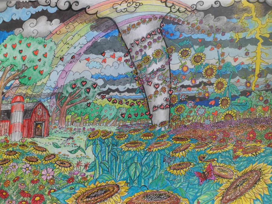 Tornado coloring page colored by Melanie76 on DeviantArt