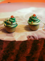 mint cupcake earrings - silver plated by moonwolf17
