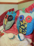 Hand-sewn felt owl cushions