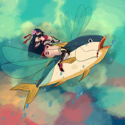 Ninjah Riding a Tuna by Gendgi