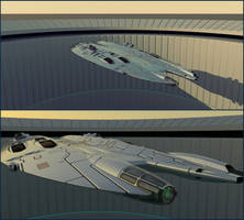 Fast Frigate Leaving Base by Scifiwarships