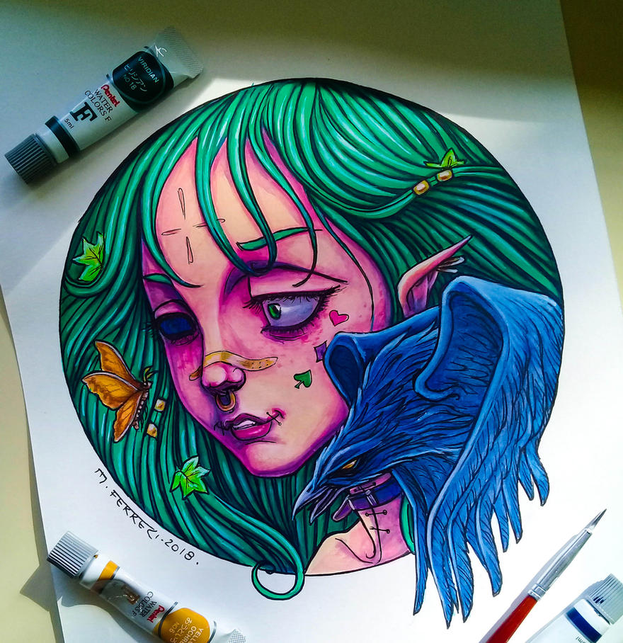 Girl Crow by ferreriart