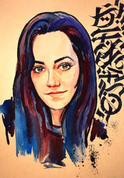 Watercolor portrait/calligraphy