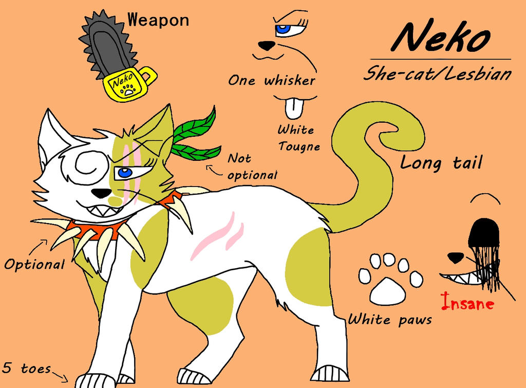 Second fursona Neko ref by ShadowTheLeader