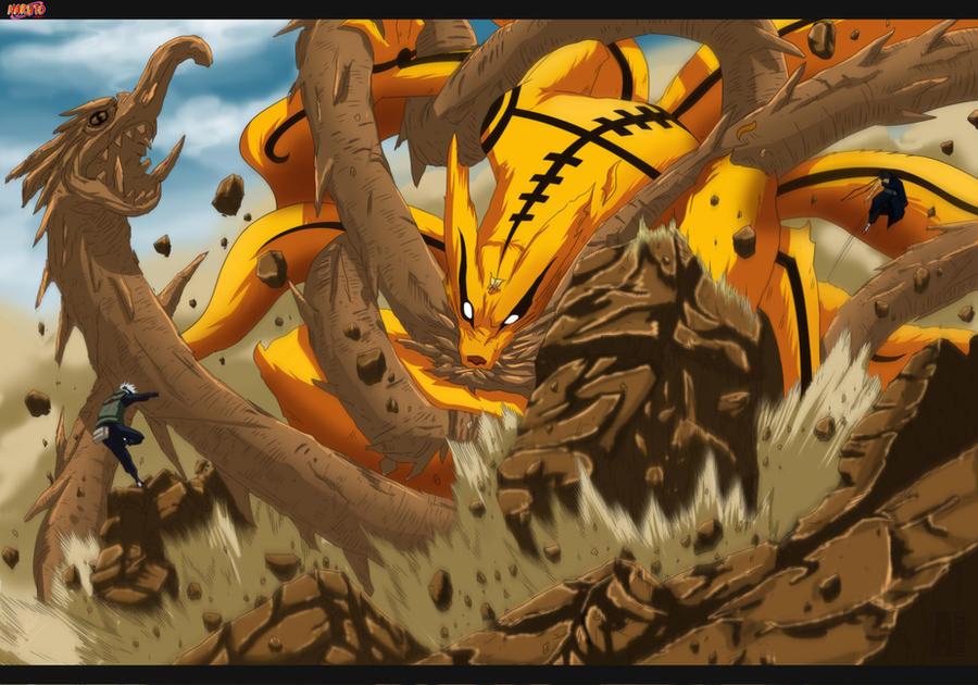 Wood Dragon vs Kyubi- Naruto ch607 by aConst