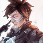 Tracer - color (line by artgerm)
