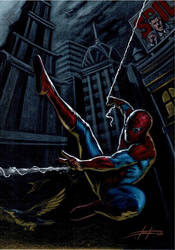 Spiderman commission on black paper by LucaStrati