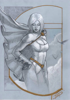 Power girl on toned paper