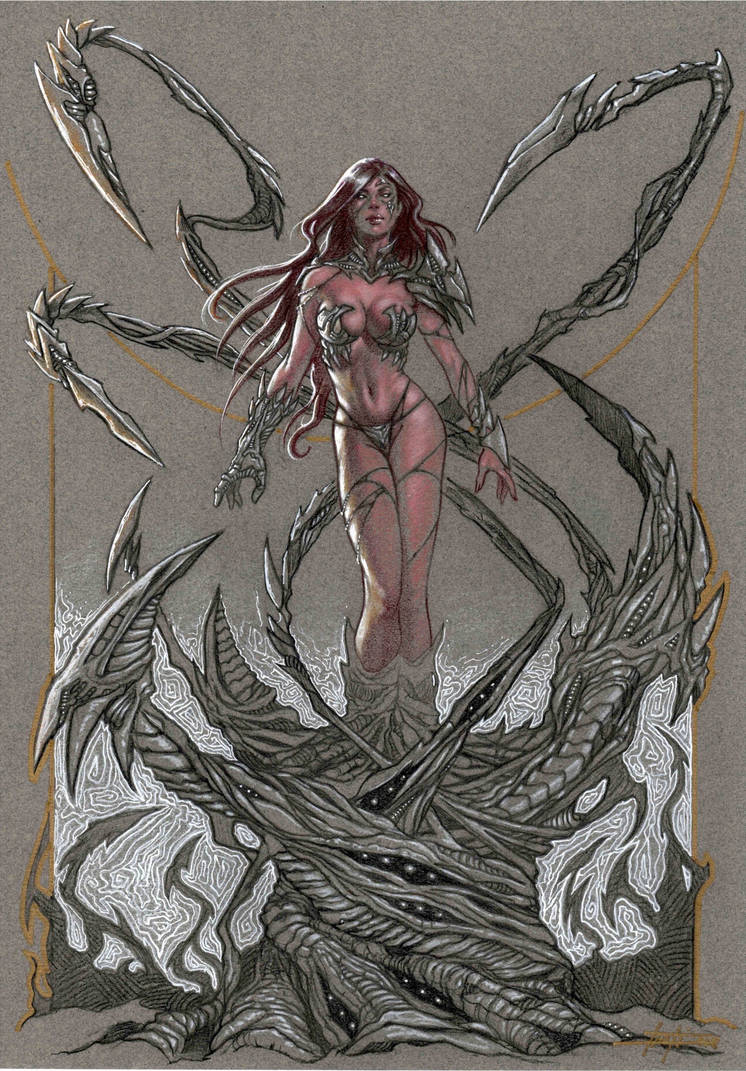 Witchblade on toned paper by LucaStrati