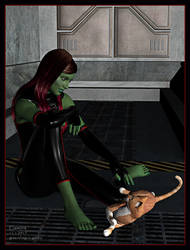 Gamora and a cute visitor by greendragon-gecko