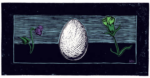 egg and gay flowers