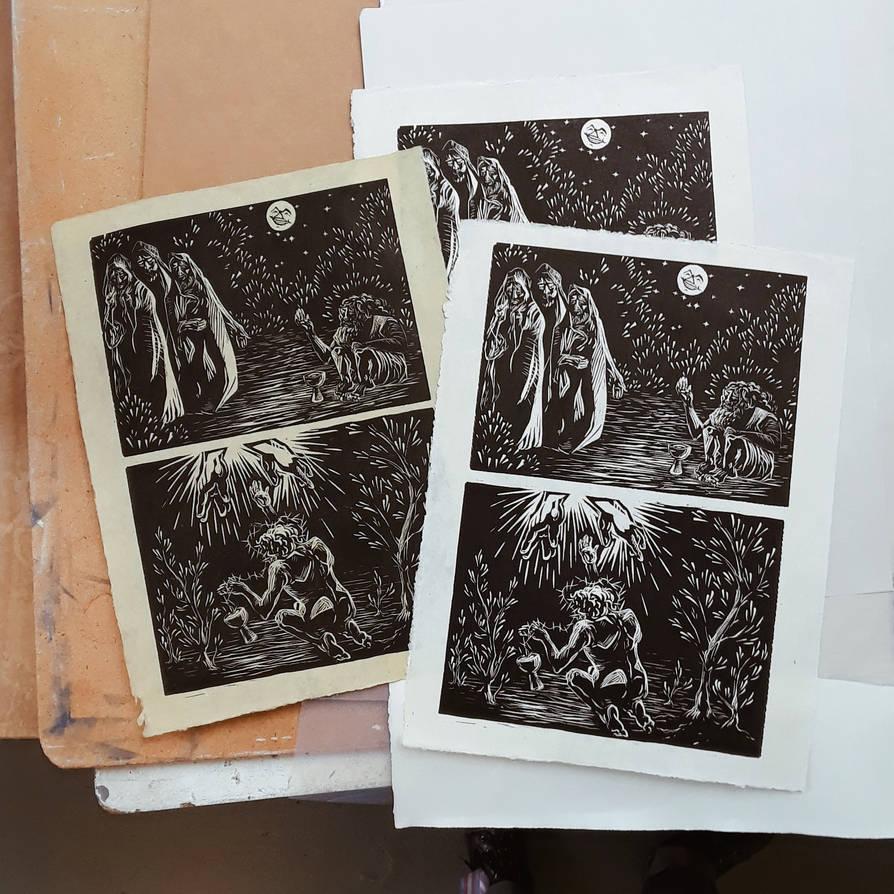 Double print Gethsemane and Job