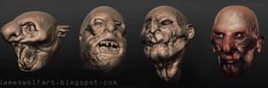 Horror Heads Sculptris Small by jameswolf