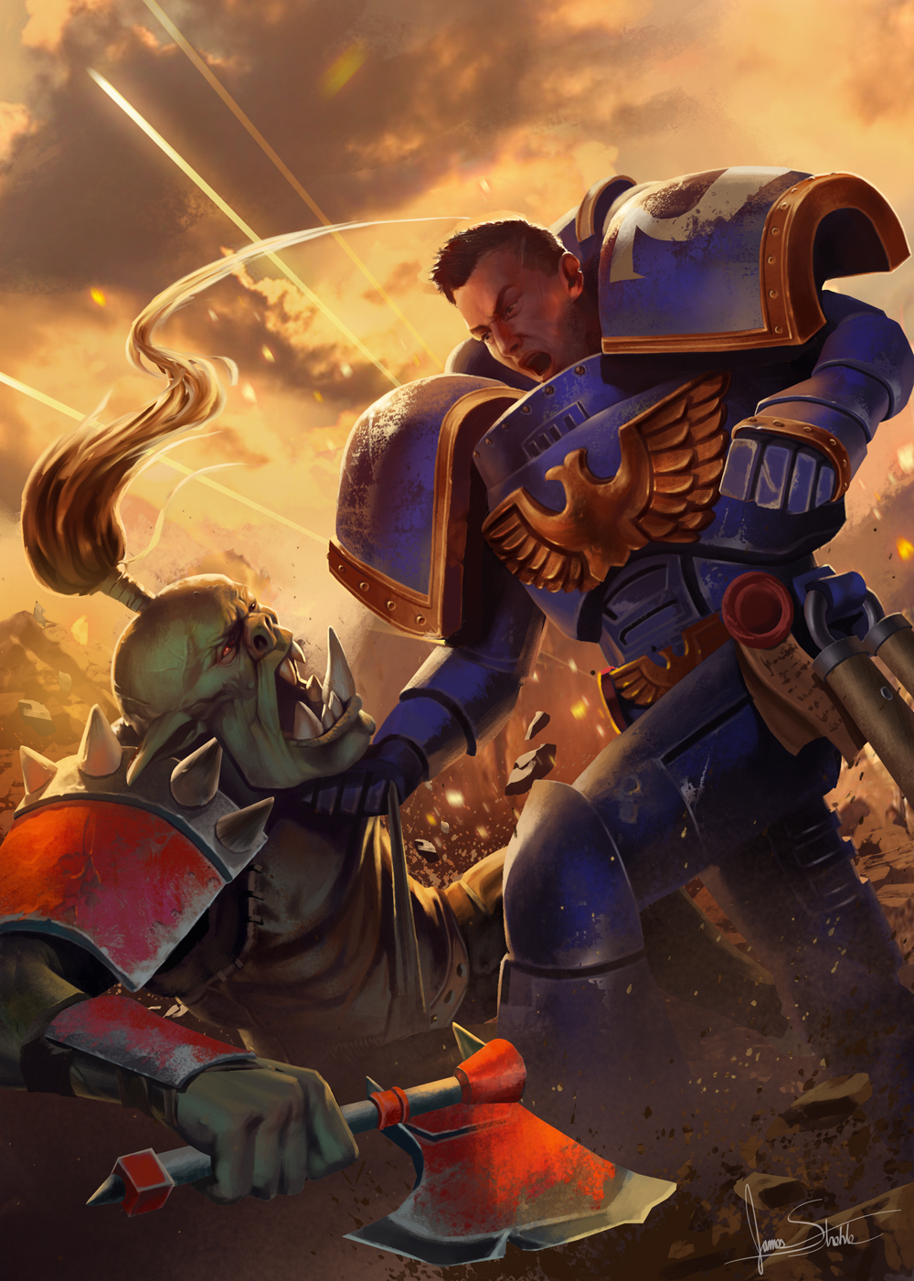 Space Marine And Ork Bickering Small by jameswolf