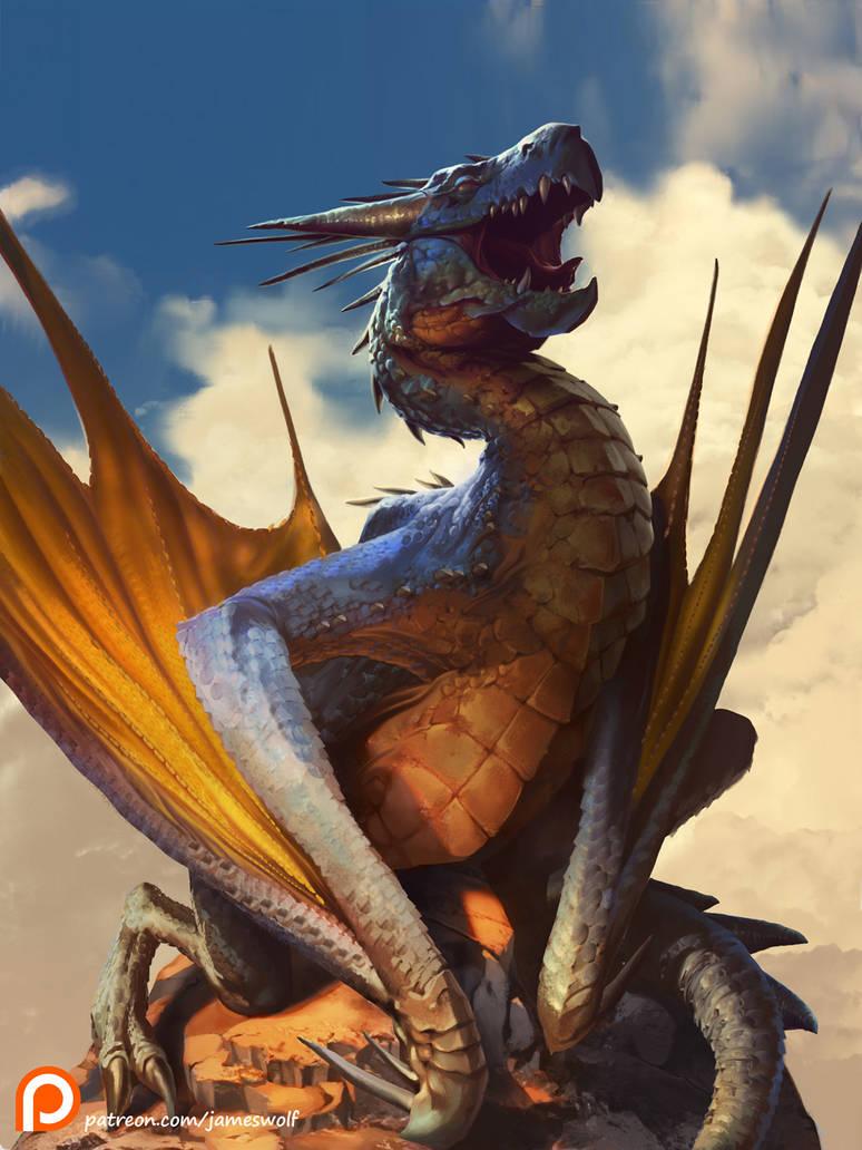 Sunbathing Dragon Final S by jameswolf
