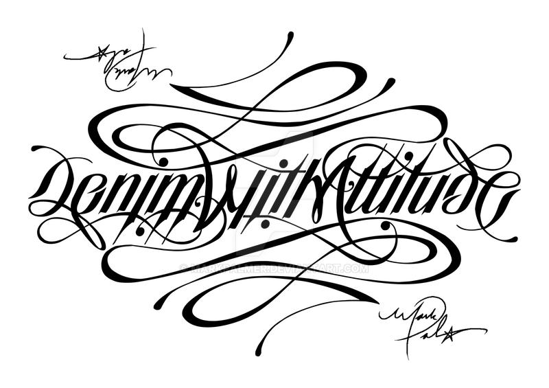 Denim with attitude ambigram by markpalmer on deviantart for Tattoo shop name generator
