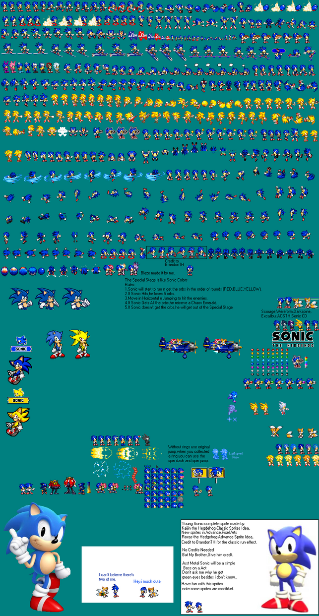 Young Sonic Advance Sprites Complete Version by kaijinthehedgehog