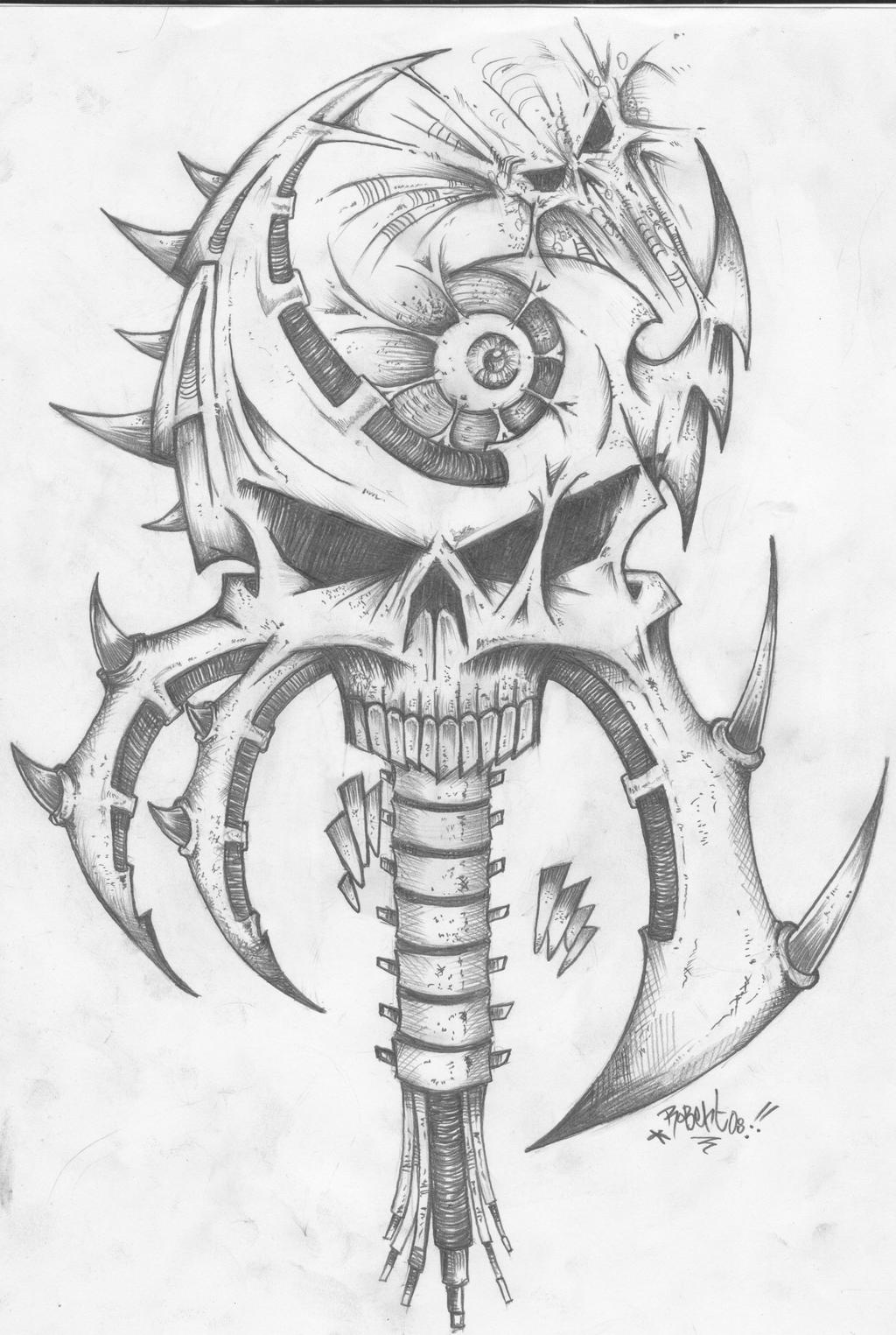 Bio Mech Skull by RoObertONecrO together with  moreover  further  likewise  further  as well  further  as well 1465088543sugar skull girl by avengedginge d479m8o furthermore  further . on creepy snake coloring pages for adults