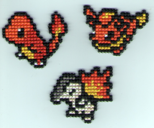 Charmander, Flareon, Cyndaquil by StitchPlease